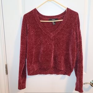 Forever 21 Burgundy velour knit crop sweater